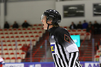 2020-02-12 | Ljungby, Sweden: A screaming linesmen during the game between IF Troja / Ljungby and Huddinge IK at Ljungby Arena ( Photo by: Fredrik Sten | Swe Press Photo )<br /> <br /> Keywords: Ljungby, Icehockey, HockeyEttan, Ljungby Arena, IF Troja / Ljungby, Huddinge IK, fsth200212, ATG HockeyEttan, Allettan