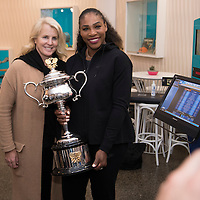 Venus  and Serena Williams after the women's final on day thirteen of the 2017 Australian Open at Melbourne Park on January 28, 2017 in Melbourne, Australia.<br /> (Ben Solomon/Tennis Australia)