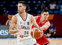 Andras Rujak of Hungary vs Stefan Jovic of Serbia during basketball match between National Teams of Serbia and Hungary at Day 11 in Round of 16 of the FIBA EuroBasket 2017 at Sinan Erdem Dome in Istanbul, Turkey on September 10, 2017. Photo by Vid Ponikvar / Sportida