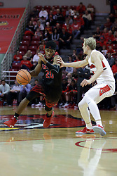 05 November 2017:  Delaney Blaylock guarded by Isaac Gassman during aLewis College Flyers and Illinois State Redbirds in Redbird Arena, Normal IL