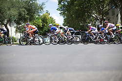 The peloton streches out during the early part of the fourth, 70 km road race stage of the Amgen Tour of California - a stage race in California, United States on May 22, 2016 in Sacramento, CA.