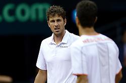 13-09-2014 NED: Davis Cup Nederland - Kroatie, Amsterdam<br /> Nederland verliest de dubbel en staat op de tweede dag met 2-1 achter / Robin Haase en Jean-Julien Rojer