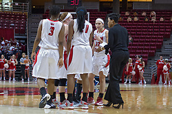 03 January 2014:  Assistant Coach Jessica Grayson chats with the active player at a time out during an NCAA women's basketball game between the Drake Bulldogs and the Illinois Sate Redbirds at Redbird Arena in Normal IL