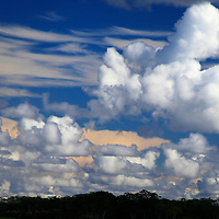 South America, Peru, Amazon. Textured cloud layers of the Amazon.
