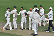 Notts celebrate the wicket of Harry Finch (not shown) during the Specsavers County Champ Div 2 match between Sussex County Cricket Club and Nottinghamshire County Cricket Club at the 1st Central County Ground, Hove, United Kingdom on 28 September 2017. Photo by Simon Trafford.