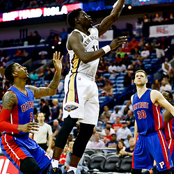 Mar 1, 2017; New Orleans, LA, USA; New Orleans Pelicans guard Jrue Holiday (11) shoots over Detroit Pistons guard Kentavious Caldwell-Pope (5) during the second half of a game at the Smoothie King Center. The Pelicans defeated the Pistons 109-86. Mandatory Credit: Derick E. Hingle-USA TODAY Sports