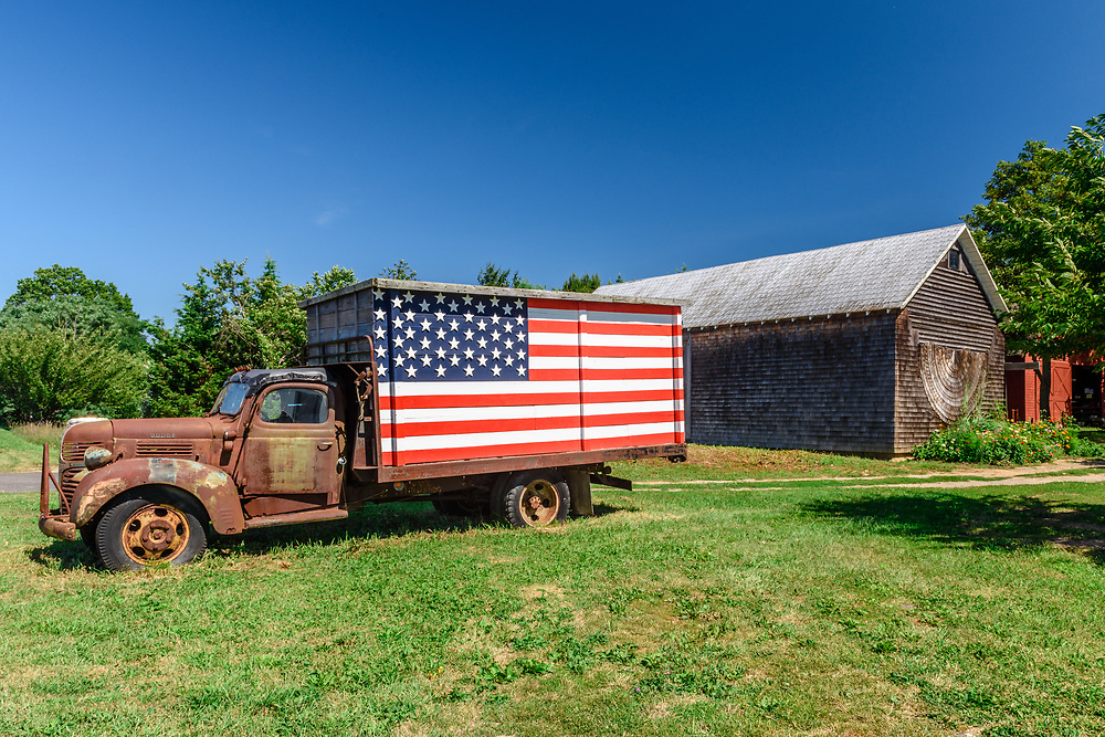 Truck with American Flag, Southold, NY