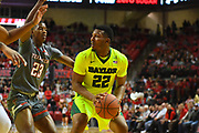 LUBBOCK, TX - DECEMBER 29: King McClure #22 of the Baylor Bears handles the ball against Jarrett Culver #23 of the Texas Tech Red Raiders during the game on December 29, 2017 at United Supermarket Arena in Lubbock, Texas. Texas Tech defeated Baylor 77-53. (Photo by John Weast/Getty Images) *** Local Caption *** King McClure;Jarrett Culver