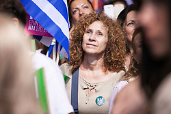 © Licensed to London News Pictures. 03/07/2015. Supporters of the 'Yes' campaign take part in a rally at The Panathenaic Stadium in Athens ahead of a referendum on a Greek bailout package. Photo credit: Katerina Kotti/LNP