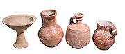 Terracotta vesseles Iron Age 8-10th century BCE from left to right Chalice, Jug, Decanter and Jug