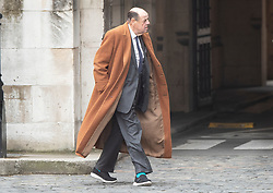 © Licensed to London News Pictures. 13/03/2019. London, UK. Sir Nicholas Soames walks to Prime Minister's Questions at Parliament ahead of tonight's vote to rule out a no deal on exiting the European Union. Photo credit: Peter Macdiarmid/LNP
