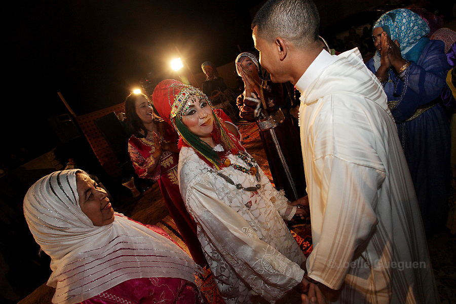 The newly weds Sokaina and Omar  enjoy  their wedding in Tikirt Village South East Morocco