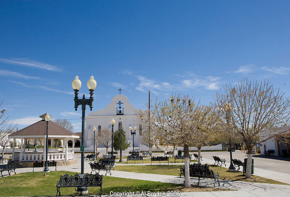 San Elizario Plaza on the Mission Trail near El Paso, Texas. The church uses the original name of San Elecario Catholic Church.