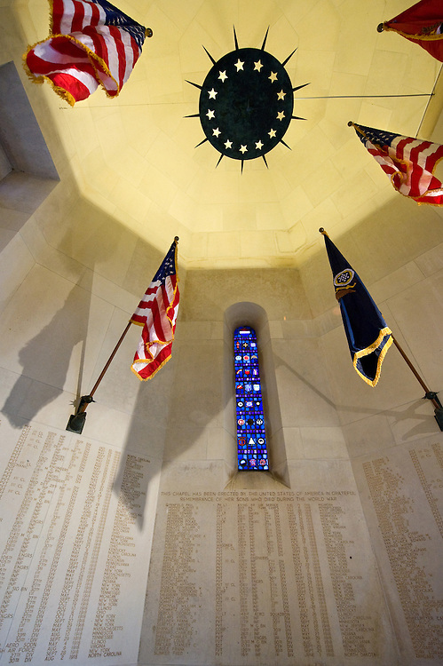 Inside the chapel of Somme American Cemetery and Memorial located in Bony, Aisne, Picardy, France. It contains the graves of 1,844 of the United States' military dead from World War I