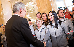 24.01.2018, Hofburg, Wien, Pyeongchang 2018, Vereidigung der Olympia-Mannschaft durch den Bundespräsidenten, im Bild Bundespräsident Alexander Van der Bellen, Anna Veith (AUT) und Marcel Hirscher (AUT) // federal president of Austria Alexander Van der Bellen, Anna Veith of Austria and Marcel Hirscher of Austria during the swearing-in of the Austrian National Olympic Committee for Pyeongchang 2018 at Hofburg in Vienna, Austria on 2018/01/24, EXPA Pictures © 2018 PhotoCredit: EXPA/ Michael Gruber