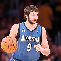 10 November 2013: Minnesota Timberwolves point guard Ricky Rubio (9) brings the ball upcourt during the Minnesota Timberwolves 113-90 victory over the Los Angeles Lakers at the Staples Center, Los Angeles, California, USA.