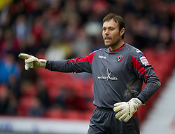 SHEFFIELD, ENGLAND - Saturday, March 17, 2012: Sheffield United's goalkeeper Steve Simonsen in action against Tranmere Rovers during the Football League One match at Bramall Lane. (Pic by David Rawcliffe/Propaganda)