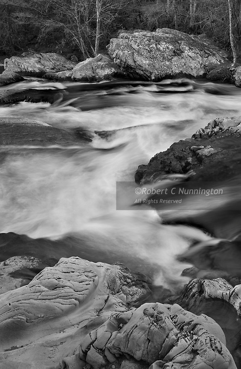 Monochrome study of the Little Pigeon River, Great Smoky Mountains National Park