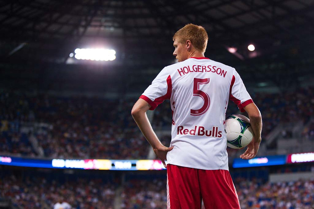 HARRISON, NJ - AUGUST 17:  Markus Holgersson #5 of the New York Red Bulls in action during the game against the Philadelphia Union at Red Bulls Arena on August 17, 2013. (Photo By: Rob Tringali)