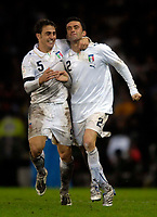 Photo: Jed Wee/Sportsbeat Images.<br /> Scotland v Italy. UEFA European Championships Qualifying. 17/11/2007.<br /> <br /> Italy captain Fabio Cannavaro (L) celebrates with matchwinner Christian Panucci.