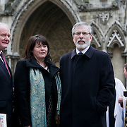 Martin McGuinness and Gerry Adams from Sinn Fein. The funeral of Tony Benn at St Margaret's Church Westminster Abbey. Tony Benn was a politician, MP and peace activist fighting for social justice.