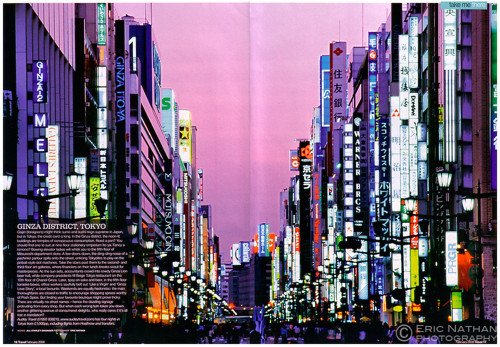 Tear sheet from Sunday Times Travel magazine (UK) showing the Ginza in Tokyo at dusk.