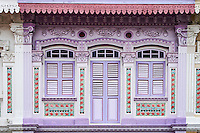 Singapour, Maisons Peranakan dans le quartier d'Eunos à l'est de la ville // Singapore, Peranakan houses in Euros District at the east of the city