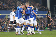 Everton  celebrate Everton midfielder Aaron Lennon   goal during the Barclays Premier League match between Everton and Tottenham Hotspur at Goodison Park, Liverpool, England on 3 January 2016. Photo by Simon Davies.