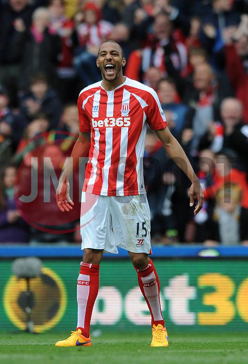 Stoke City's Steven N'Zonzi celebrates his goal - Photo mandatory by-line: Dougie Allward/JMP - Mobile: 07966 386802 - 09/05/2015 - SPORT - Football - Stoke - Britannia Stadium<br />  - Stoke v Tottenham Hotspur - Barclays Premier League