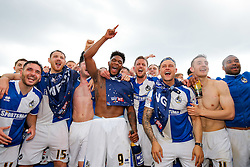 SKY BET PICTURES – FREE TO USE Ellis Harrison of Bristol Rovers and his teammates celebrate after they win the match in injury time to secure 3rd place in League 2, back to back promotions and a place in Sky Bet League 1 for 2016/17 - Mandatory byline: Rogan Thomson/JMP - 08/03/2016 - FOOTBALL - Memorial Stadium - Bristol, England - Bristol Rovers v Dagenham & Redbridge - Sky Bet League 2.