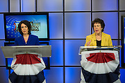 Republican Cheryl Dinolfo (left) and Democrat Sandy Frankel (right) participate in a debate between the three candidates for Monroe County Executive in Rochester on Wednesday, October 21, 2015. Not pictured is Green Party candidate Rajesh Barnabas.