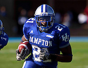 "Hampton senior Steve Robinson rushed for 27 yards during their 7 - 6 victory over Norfolk State in ""The Battle of the Bay"" played at Armstrong Stadium on the campus of  Hampton University in Hampton, Virginia.   (Photo by Mark W. Sutton)"