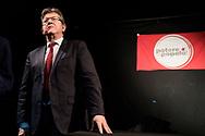 Napoli, Italia - Il politico francese Jean-Luc M&eacute;lenchon, leader di France Insoumise, durante un comizio presso l'ex OPG di Napoli organizzato dal partito Potere al Popolo.<br /> Ph. Roberto Salomone