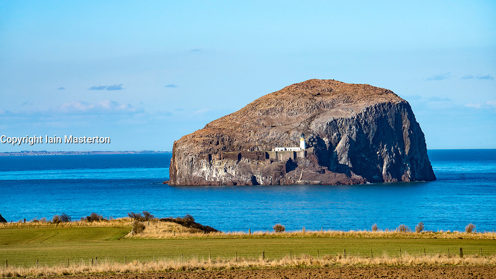 View of Bass Rock bird sanctuary in Forth Estuary off East Lothian coast, Scotland, United Kingdom