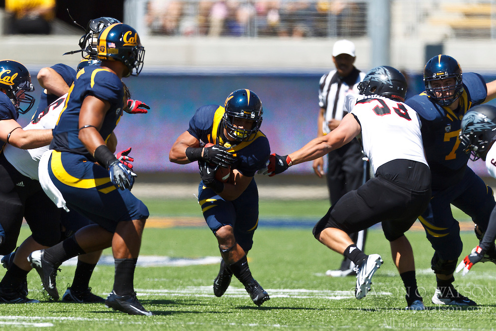 BERKELEY, CA - SEPTEMBER 08: Running back Isi Sofele #20 of the California Golden Bears rushes up field against the Southern Utah Thunderbirds during the first quarter at Memorial Stadium on September 8, 2012 in Berkeley, California. The California Golden Bears defeated the Southern Utah Thunderbirds 50-31. (Photo by Jason O. Watson/Getty Images) *** Local Caption *** Isi Sofele