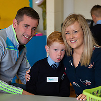 Noah Finnerty on his first day at school at Scoil Na Mainistreach Quin Dangan with his parents David and Triona