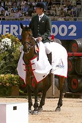 Lennon Dermott (IRL) - Liscalgot<br /> Jumping final<br /> World Equestrian Games Jerez de la Fronteira 2002<br /> Photo © Dirk Caremans