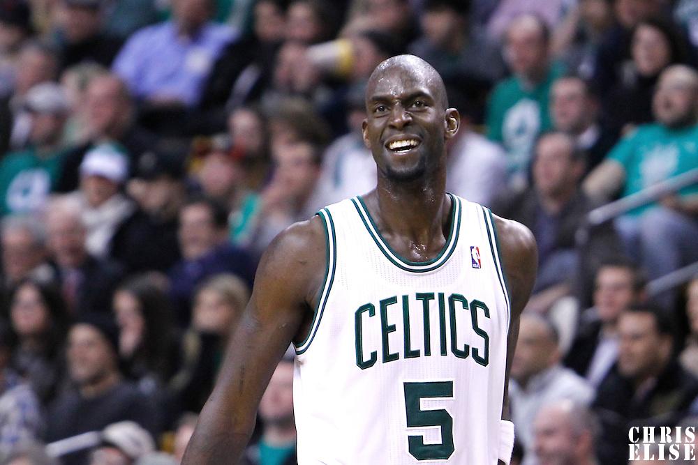 06 March 2012: Boston Celtics power forward Kevin Garnett (5) reacts during the Boston Celtics 97-92 (OT) victory over the Houston Rockets at the TD Garden, Boston, Massachusetts, USA.