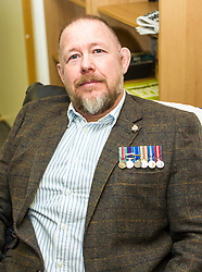 EMBARGOED UNTIL 00:01 2 APRIL 2017<br /> <br /> Pictured: David M Hunter, former corporal, Army 2 Scots, still looking for a job with the support of the Veterans Fund.<br /> During his visit to the Lothians Veteran Centre in Dalkeith on Friday 31 March, Veterans Secretary Keith Brown  announced the successful applicants to the 2017 Scottish Veterans Fund.<br /> The Lothians Veteran Centre provides a person-centred support service for ex-service personnel and their families across Lothians, including projects relating to housing, benefits &amp; welfare, and employment, education and training support.<br /> <br /> Ger Harley | EEm 31 March 2017