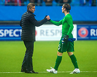 22/10/15 UEFA EUROPA LEAGUE GROUP STAGE<br /> MOLDE FK v CELTIC<br /> AKER STADIUM - NORWAY<br /> Molde manager Ole Gunnar Solskjaer (left) with Stefan Johansen