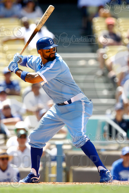 4 May 2011: Centerfielder Matt Kemp at bat in the 8th inning.  The Cubs defeated the Dodgers 5-1 during a Major League Baseball game at Dodger Stadium in Los Angeles, California.  Dodgers players are wearing Brooklyn Dodger 1940's throwback jersey uniforms and the Chicago Cubs are also wearing throwback retro jersey uniforms. **Editorial Use Only**