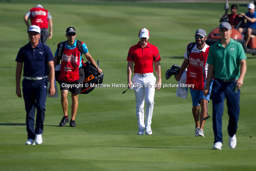Rickie FOWLER (USA),Rory MCILROY (NIR) and world number one Jordan SPIETH (USA) during first round Abu Dhabi HSBC Golf Championship 2016, Abu Dhabi GC,Abu Dhabi,UAE.