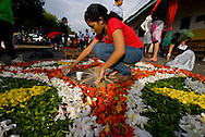 Preparación de mantos de flores en las calles alrededor del parque para la procesión de Corpus Christi..Celebración de la fiesta religiosa católica del Corpus Christi, en la ciudad de La Villa provincia de Los Santos, República de Panamá..Esta tradición que se celebra anualmente mantiene un relación directa entre la iglesia y la tradición folclorica como las danzas y costumbres. .Foto: Ramon Lepage / Istmophoto.