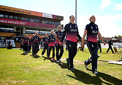 Heather Knight of England Women leads her side out to face New Zealand Women - Mandatory by-line: Robbie Stephenson/JMP - 12/07/2017 - CRICKET - The County Ground Derby - Derby, United Kingdom - England v New Zealand - ICC Women's World Cup match 21