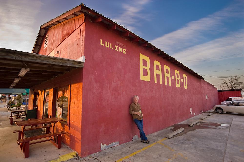 Producer Bryan Gooding outside Luling Bar-B-Q - Luling, Texas