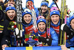 March 16, 2019 - –Stersund, Sweden - 190316 Linn Persson, Mona Brorsson, Anna Magnusson and Hanna Öberg of Sweden celebrate after the Women's 4x6 km Relay during the IBU World Championships Biathlon on March 16, 2019 in Östersund..Photo: Petter Arvidson / BILDBYRÃ…N / kod PA / 92268 (Credit Image: © Petter Arvidson/Bildbyran via ZUMA Press)