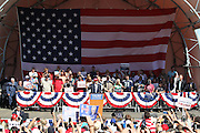 Presumptive Republican Presidential nominee Donald J. Trump speaks at a rally at The Northwest Washington Fair and Events Center in Lynden, Washington on Saturday May 7, 2016. The facility holds approximately 5,000 people and is located 5 miles from the Canadian border. The population of Lyndon is less than 13,000.