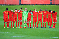 KIRKBY, ENGLAND - Friday, March 31, 2017: Liverpool's Under-18 players stand for a minute's silence to remember former Liverpool player and coach Ronnie Moran before an Under-18 FA Premier League Merit Group A match against West Ham United at the Kirkby Academy. (Pic by David Rawcliffe/Propaganda)