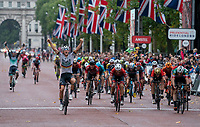 Pascal Ackermann (GER) crosses the line to win The Prudential RideLondon Classic. Sunday 29th July 2018<br /> <br /> Photo: Bob Martin for Prudential RideLondon<br /> <br /> Prudential RideLondon is the world's greatest festival of cycling, involving 100,000+ cyclists - from Olympic champions to a free family fun ride - riding in events over closed roads in London and Surrey over the weekend of 28th and 29th July 2018<br /> <br /> See www.PrudentialRideLondon.co.uk for more.<br /> <br /> For further information: media@londonmarathonevents.co.uk
