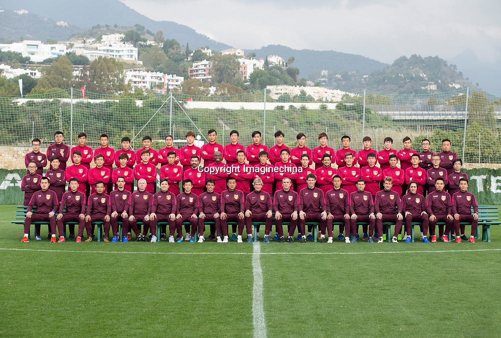 Group shot of players of Hebei China Fortune F.C. for the 2017 Chinese Football Association Super League, in Marbella, Andalusia, Spain, 17 February 2017.